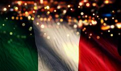 Italy national flag light night bokeh abstract background Stock Illustration