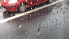 Background - water drops on the window - road(asphalt) with lines - moving Stock Footage