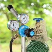 Welding gas cylinder pressure gauge Stock Photos