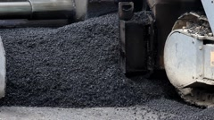 Machine for paving apply asphalt.Tilt up to the worker who controls the machine. Stock Footage