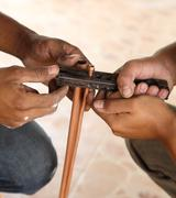 expanding copper pipe - stock photo