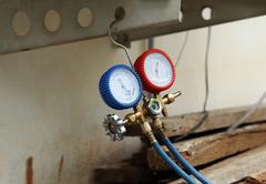 manometers for filling air conditioners - stock photo