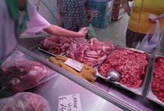 Butchery display arrangement Stock Footage