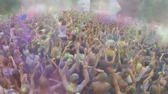 Slow motion crowd of young people enjoying music festival, click for HD Stock Footage