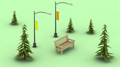 Bench and street lights among the pines in low-polygonal style Stock Illustration