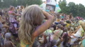 Crowd waving hands at concert, open air festival slow motion, click for HD Footage