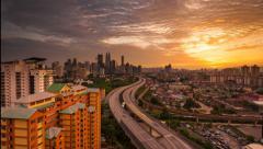 Sunset Time Lapse over Kuala Lumpur Stock Footage