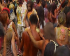 Young girls and guys having fun at event, dancing crowd, click for HD Stock Footage