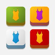 Stock Illustration of square button: swimsuit