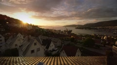 Beautiful shot of Bergen/Norway and its fjord at sunset Stock Footage
