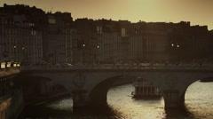 Romantic bridge in Paris at sunset Stock Footage
