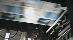 Paper being printed at high speed in a printing factory - stock footage