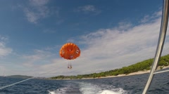 Stock Video Footage of Parasiling above the Adriatic sea