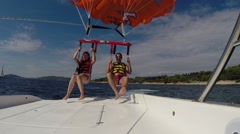 Parasiling above the Adriatic sea Stock Footage