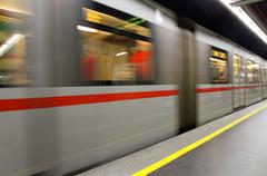Fast underground subway train while hurtling fast Stock Photos