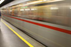 Fast underground subway train Stock Photos