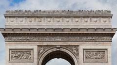 Tilt, Arch of Triumph Paris, France, Traffic, timelapse Stock Footage