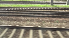 ULTRA HD 4K POV point of view train railroad track parallel rail infrastructure  Stock Footage