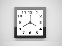 black minimalism clock rendered - stock illustration