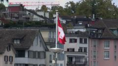 Swiss flag in Zürich Stock Footage