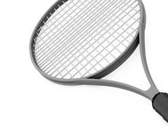 tennis racket rendered on white background - stock illustration