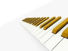 gold piano keyboard concept rendered on white background - stock illustration