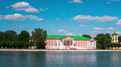 Vacationers go boating about Kuskovo palace. Stock Footage