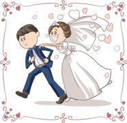 Funny Bride Chasing Groom Vector Cartoon - stock illustration