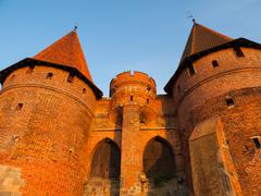fortification towers in malbork - stock photo