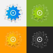 Drawing medical formulas: cogwheel - stock illustration