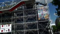 Centre Pompidou pan sunshine - stock footage