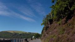 Driving through the Elan Valley, Wales - approaching Foel Tower Stock Footage