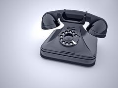 old phone vintage on blue - stock illustration