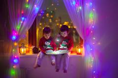 Two boys, reading book on the window Stock Photos