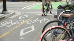 Downtown Vancouver Marked Cycle Path Stock Footage