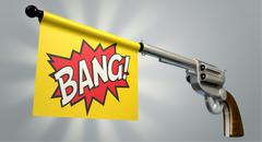 pistol bang flag - stock illustration