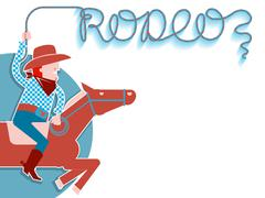 Cowboy with lasso rodeo background. Piirros