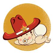 cowboy little baby with big western sheriff hat - stock illustration