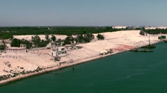 Egypt the Suez Canal 002 water surface and shore from above Stock Footage