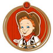 Cowboy child portrait Stock Illustration