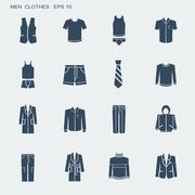 fashion clothes for men isolated on white - stock illustration