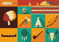 Stock Illustration of native americans icons.vector flat design
