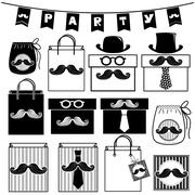 Mustache party bags and box isolated on white Stock Illustration