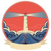 lighthouse label with anchor and rope frame - stock illustration