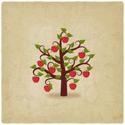 Apple tree old background Stock Illustration