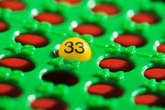 single number - 33 - in a bingo board - stock photo