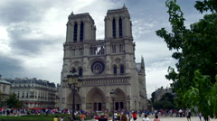 Paris Notre Dame Church UHD Stock Footage