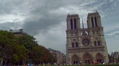 Paris Notre Dame total shot Stock Footage
