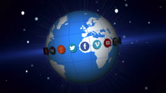 Social network logos | Rotating earth | v2 - stock footage