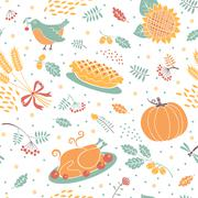 Seamless pattern with pumpkins, leaves, wheat and turkey. Stock Illustration